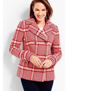 NEW Talbots Trail wool red plaid peacoat jacket